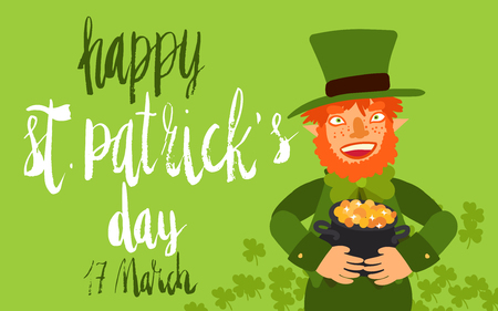Happy St Patricks Day celebration card template. Hand written brush lettering. Flat illustration of leprechaun smiling holding pot of gold. Illustration