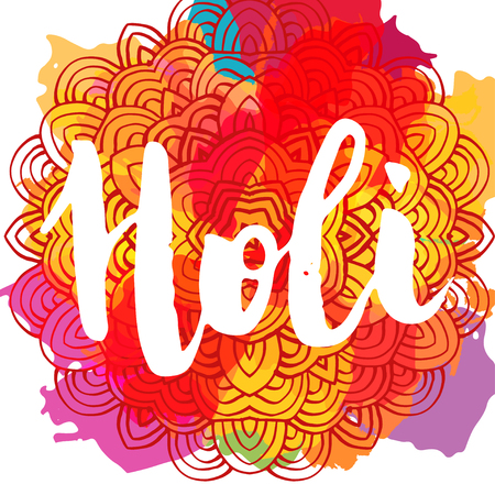 Indian Holi festival of colors greeting card template. Hand written brush lettering.