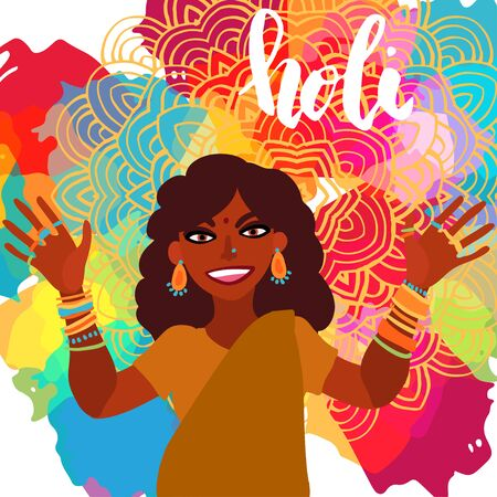 Holi festival of colors. Smiling Indian woman dressed in sari showing hands and face covered in paint flat illustration. Illustration