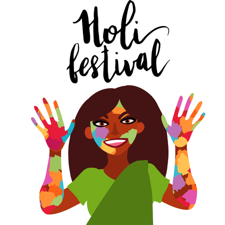Holi festival of colors. Smiling Indian woman dressed in sari showing hands and face covered in paint flat illustration. Vectores