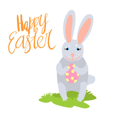 Happy Easter Card Template With Cute White Bunny Holding A Carrot