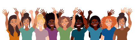 Group of happy smiling women of different race together holding hands up with piece sign isolated on white background.
