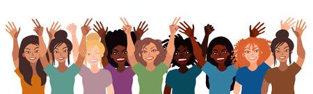 Grupo de mujeres sonrientes felices de diferentes carrera juntos tomados de la mano con la muestra de la divisa aislado en el fondo blanco . Foto de archivo - 98088788