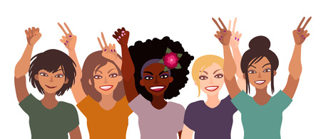 Group of happy smiling women of different race together holding hands up with piece sign, fist, open palm. 일러스트