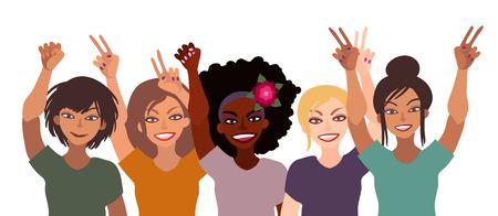 Groupe de femmes souriantes heureux de race différente tenant ensemble les mains avec signe de pièce, poing, paume ouverte. Vecteurs