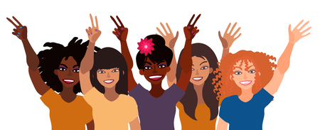Group of happy smiling women of different race together holding hands up with piece sign, open palm.