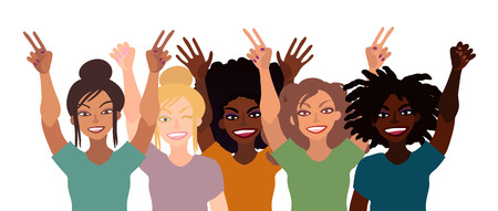 Group of happy smiling women of different race together holding hands up with piece sign, fist, open palm. Ilustrace