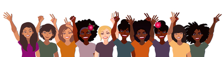 Group of happy smiling women of different race together holding hands up on a white background Illusztráció