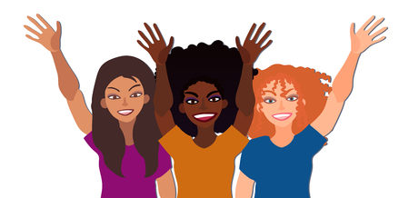 Group of happy smiling women of different race together holding hands up in greeting. Flat style illustration isolated on white. Feminism diversity tolerance girl power concept.
