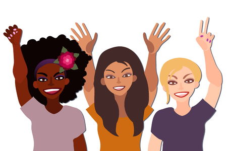 Group of happy smiling women of different race together holding hands up with piece sign, fist, open palm. Illustration