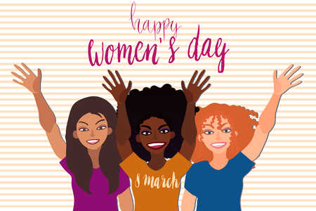 Happy international womens day 8 march card. Group of female people of different race together smiling and greeting holding hand up. Çizim
