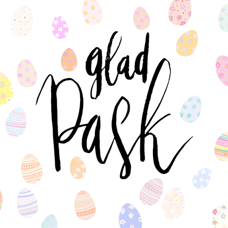 Glad Pask lettering with decorated eggs white background. Иллюстрация