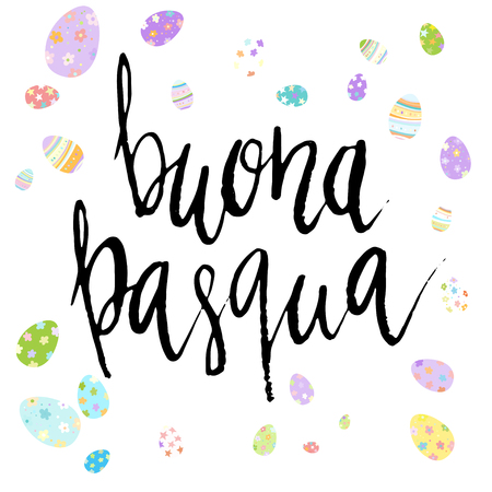 Happy Easter Buona Pasqua in Italian hand written brush lettering with decorated eggs on white background. Ilustração