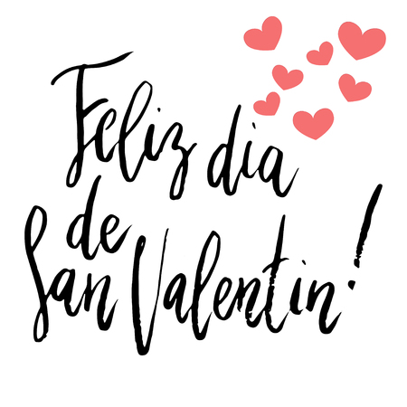 Feliz Dia dos Namorados, Happy Valentine's day hand written brush lettering isolated on white with small heart decoration.