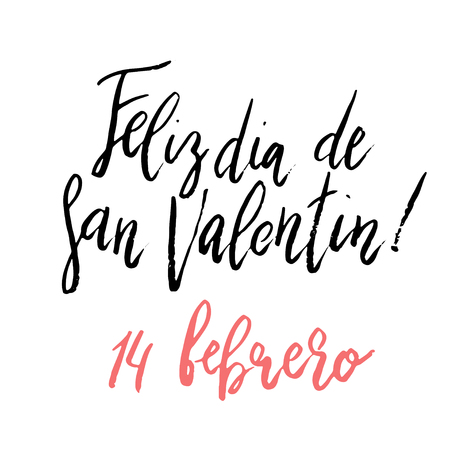 Feliz Dia dos Namorados, Happy Valentine's day hand written brush lettering isolated on white background.