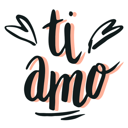 Happy Valentine's day, lettering ti amo (I love you in Italian) hand written and isolated on white.