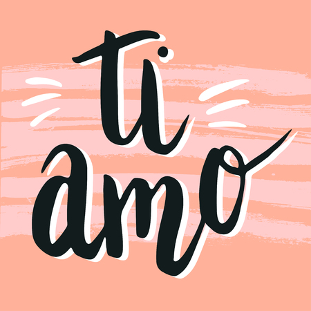 Happy valentine lettering ti amo, I love you in Italian, hand written dry brush stripe background. Illusztráció