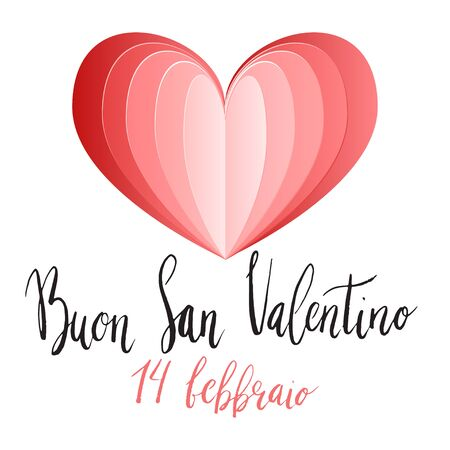 Buon San Valentin, Happy Valentines day hand written brush lettering with paper cut style heart design.