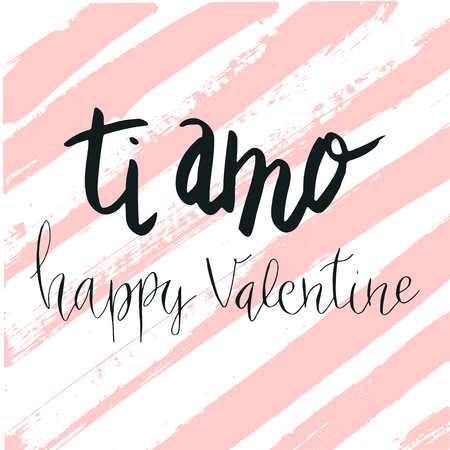 Happy Valentine's day, lettering ti amo (I love you in Italian) hand written with dry brush stripe background. Illusztráció