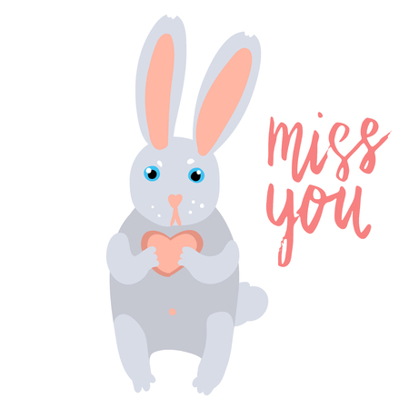 Happy Valentine bunny holding a heart flat illustration with hand written lettering miss you isolated on white.