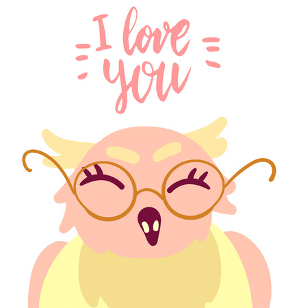 Happy Valentine's day cute owl in glasses flat illustration with hand written lettering I love you isolated on white.