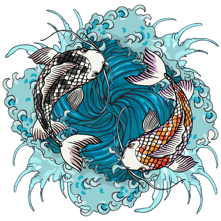 Realistic detailed hand drawn illustration of two koi carps swimming on background of water waves. Colorful graphic tattoo style image symbolising yin yang concept. T-shirt print.