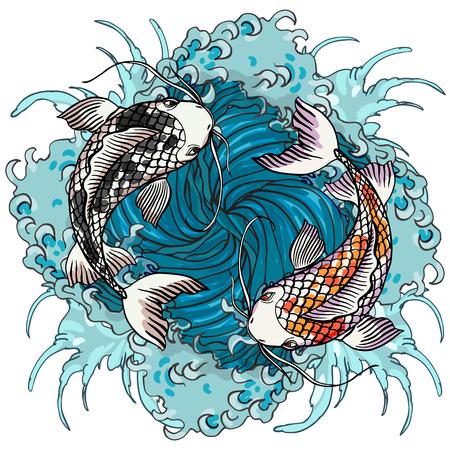 Realistische ausführliche Hand gezeichnete Illustration von zwei Karpfen, die auf Hintergrund von Wasserwellen schwimmen. Buntes grafisches Tätowierungsartbild, das yin Yang-Konzept symbolisiert. T-Shirt Druck.