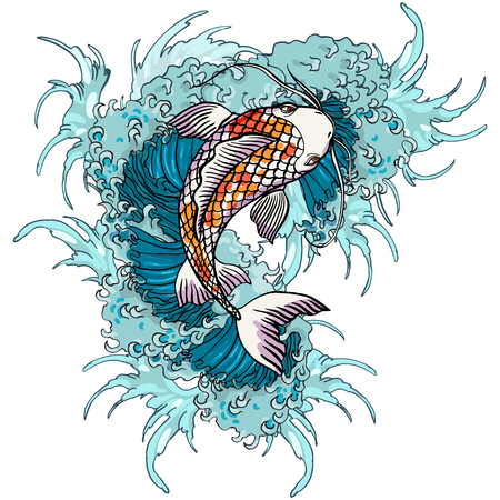 Realistic detailed hand drawn illustration of koi carp swimming on background of water waves. Colorful graphic tattoo style image concept. T-shirt print.