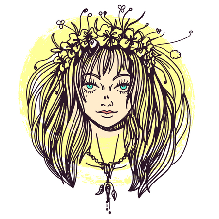 Illustration of a young woman in flower crown wearing amulet for wicca summer solstice celebration. Line art drawing for print.