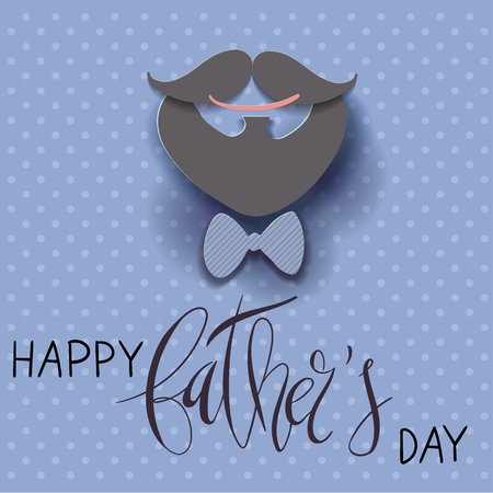 Beautiful vector illustration greeting card template with Happy Father's Day handwritten lettering and paper cut craft 3d smile, mustache and beard, bow tie and polka dot background. Illusztráció