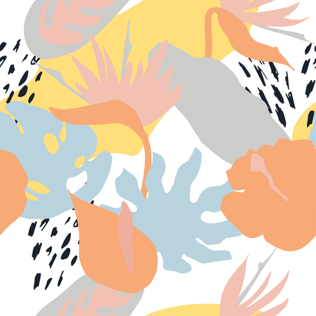 Minimal summer trendy vector tile seamless pattern in scandinavian style. Bird of paradise, hibiscus, laceleaf flowers, palm leafs. Textile fabric swimwear graphic design for pring.
