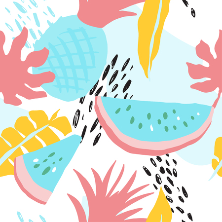 Minimal summer trendy vector tile seamless pattern in scandinavian style. Watermelon, pineapple, palm leafs, abstract elements. Textile fabric swimwear graphic design for pring. Illustration