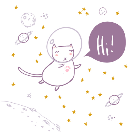 Cute cat flying in space surrounded by stars, planets. asteroids. Hi hand lettering. Simple sweet kids nursery illustration. Graphic design for apparel. Illustration