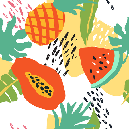 Minimal summer trendy vector tile seamless pattern in scandinavian style. Watermelon, pineapple, papaya, palm leafs, abstract elements. Textile fabric swimwear graphic design for pring.