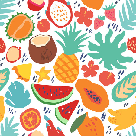 Minimal summer trendy vector tile seamless pattern in scandinavian style. Exotic fruit slice, palm leaf, hibiscus and dots. Textile fabric swimwear graphic design for print isolated on white.