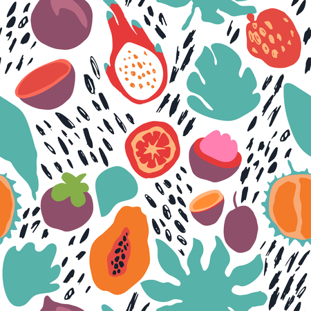 Minimal summer trendy vector tile seamless pattern in scandinavian style. Exotic fruit slice, plant leaf and abstract elements. Textile fabric swimwear graphic design for print isolated on white. Vettoriali
