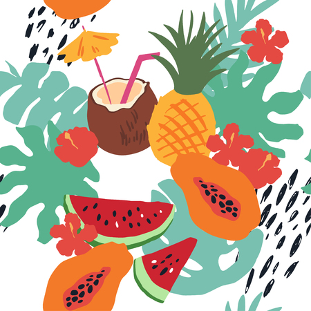 Minimal summer trendy vector tile seamless pattern in scandinavian style. Exotic fruit slice, flowers, palm leaf and dots. Textile fabric swimwear graphic design for print isolated on white. Illustration