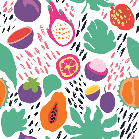Minimal summer trendy vector tile seamless pattern in scandinavian style. Exotic fruit slice, plant leaf and abstract elements. Textile fabric swimwear graphic design for print isolated on white. Ilustração