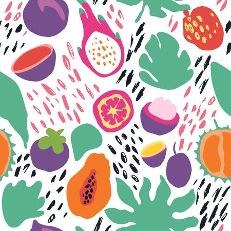 Modèle sans couture de tuile vecteur tendance été minimal dans un style scandinave. Tranche de fruit exotique, feuille de plante et éléments abstraits. Conception graphique de maillots de bain en tissu textile pour impression isolé sur blanc.