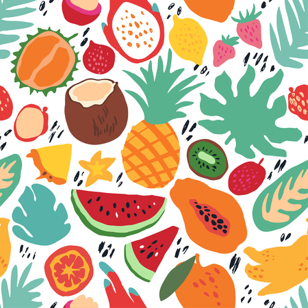 Minimal summer trendy vector tile seamless pattern in scandinavian style. Exotic fruit slice, palm leaf and dots. Textile fabric swimwear graphic design for print isolated on white. Vettoriali