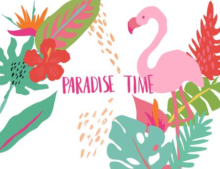 Minimal summer trendy vector illustration art in scandinavian style. Flamingo, exotic palm leaf, hibiscus bird of paradise flower and dots. Handwritten lettering phrase Paradise Time Vektorgrafik