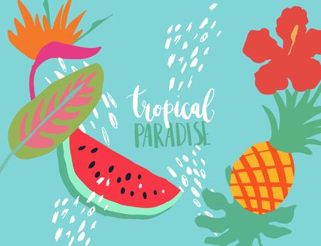 Minimal summer trendy vector illustration art in scandinavian style. Watermelon, pineapple, palm leaf, hibiscus , bird of paradise flower, dots. Handwritten lettering phrase Tropical Paradise Illustration