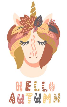 Sweet little unicorn in leaf crown with cute eyelashes vector art. Childish kids scandinavian hand drawn illustration. Graphic design tee print. Lettering phrase Hello Autumn.