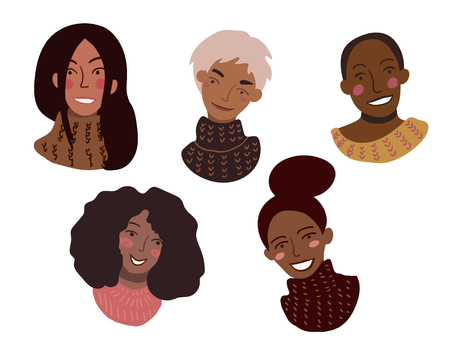 Portraits of happy smiling women of different race in sweaters. Minimal style illustration isolated on white. Feminism diversity race equality tolerance concept. 일러스트