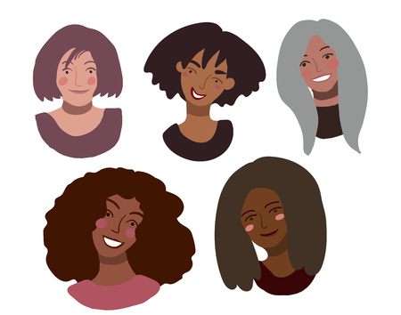 Portraits of happy smiling women of different race together. Minimal style illustration isolated on white. Feminism diversity race equality tolerance concept.