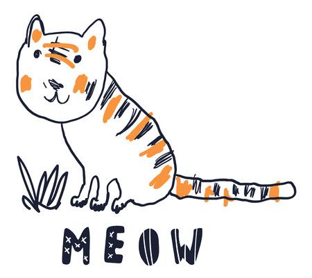 Cute sweet little tiger vector art. Naive sketch childish nursery scandinavian hand drawn illustration. Simple children print. Graphic design for apparel. Lettering phrase Meow. Ilustração