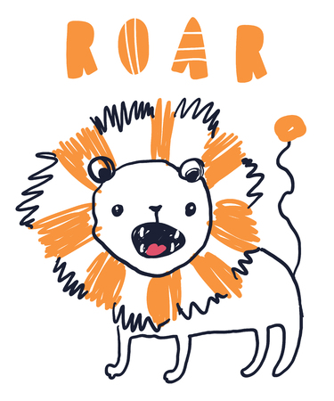 Cute sweet little lion vector art. Naive sketch childish nursery scandinavian hand drawn illustration. Simple children print. Graphic design for apparel. Lettering phrase Roar. Ilustração