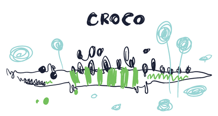 Cute sweet little crocodile vector art. Naive sketch childish nursery scandinavian hand drawn illustration. Simple children print. Graphic design for apparel. Lettering phrase Croco.