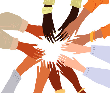 Illustrazione delle mani di un popolo con diverso colore della pelle che si tengono insieme. Uguaglianza razziale, femminismo, arte della tolleranza in stile minimal.
