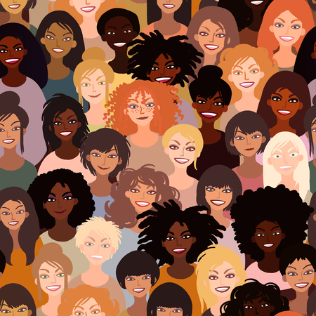 Illustration of women of different race together. Race equality, diversity, feminism, tolerance art in minimal style. Hand drawn vector seamless tile pattern.